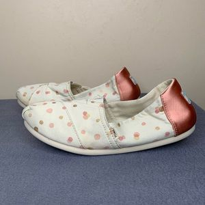 Toms White and Pink Polka Dot Women's Loafers Sz 7